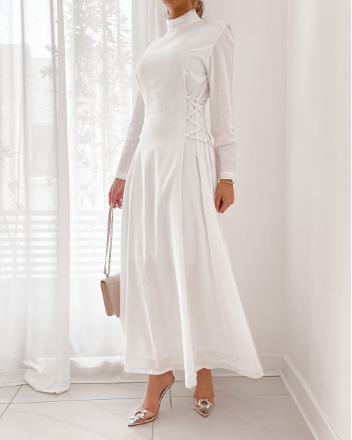 High neck maxi dress with side strap detail in white