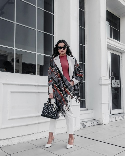 Fringed checked wool-blend wrap