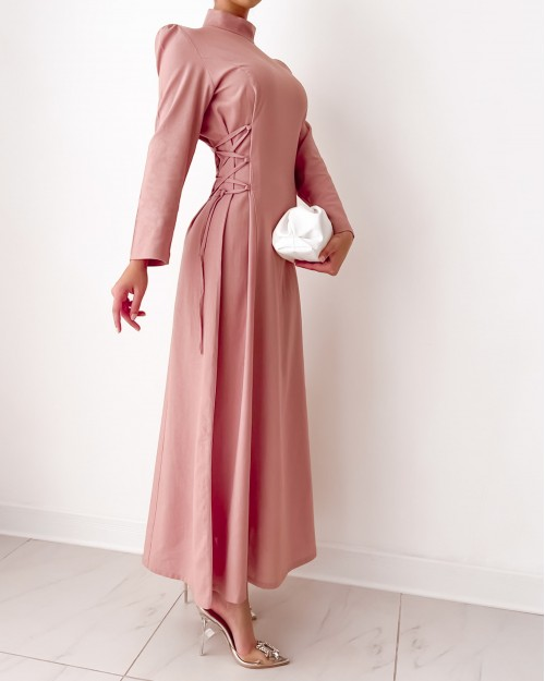 High neck maxi dress with side strap detail in blush pink