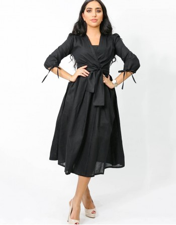 Wrapped Black Mid Length Dress
