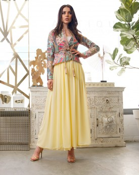 Wrap Jacket with embroidery details and chiffon trousers