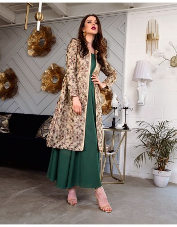 Embellishment Jacket with linen gown
