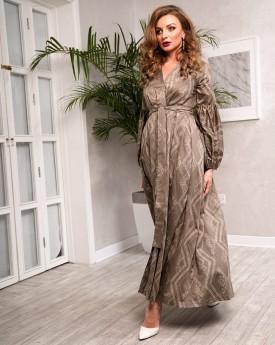 Khaki cotton v neck maxi dress