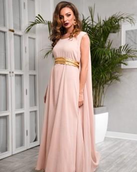 Oversized Blush Maxi Dress With Belt