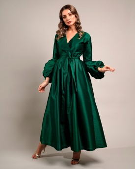 Buffed Sleeves emerald raw silk maxi dress