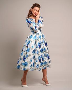 Floral print blue skater midi tulle dress