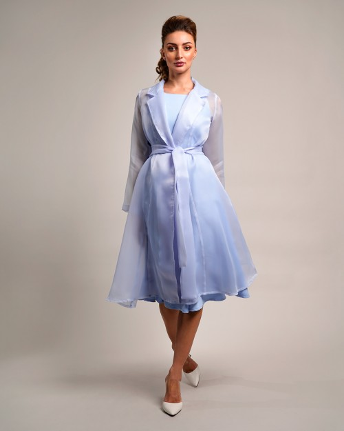 Crepe dress toped with organza belted jacket