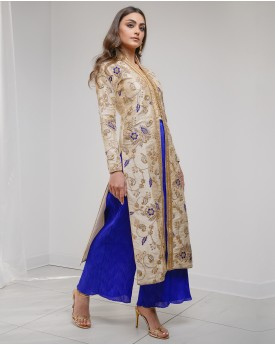 Imperial collar straight coat with wide leg trousers