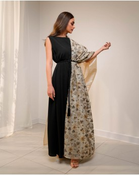 Black wrinkled dress belted with half Kaftan sleeve