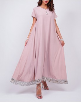 Maxi kaftan with border in blush pink