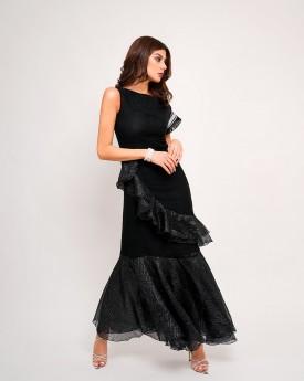 Draped necklace ruffled maxi dress