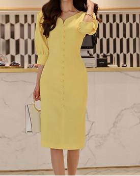 Lemonade buffed Sleeves middi dress