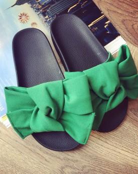 Green Oversized Bow Flat Sandal