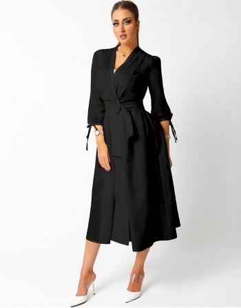 Wrapped Black Mid Length Dress