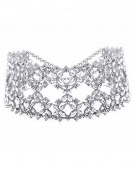 Glamours Silver Wide Rhinestone Chocker