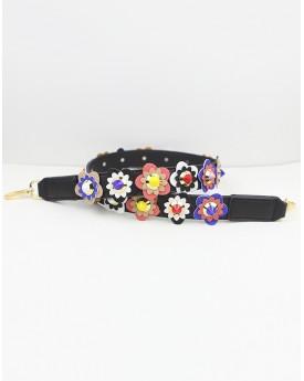 Flower Embellished on Faux Leather Black Bag Strap
