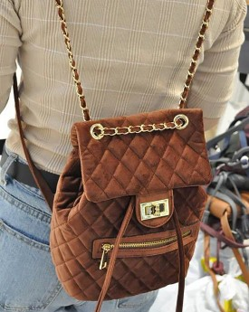Quilted Velvet Backpack with Chain Straps