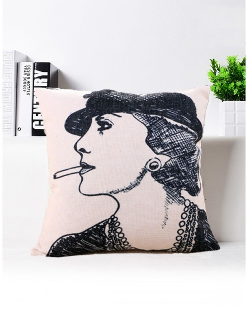Coco Chanel with Cigarettes Cushion Cover