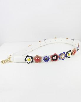 Flower Embellished on Faux Leather White Bag Strap