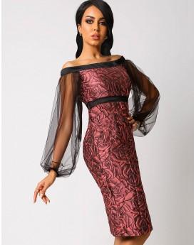Floral Bodycon Off Shoulder dress