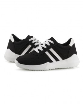 Black Lace-up Trainers with Side White Lines