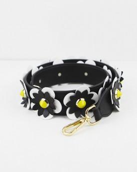 Black & white Flower Embellished Bag Strap