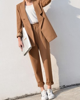 Camel Tailored Blazer with Peg Trousers
