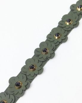 Green Flower Embellished Bag Strap
