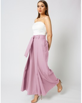 Culottes Trousers With Belt In Pink