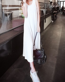 Cami Dress with Mesh Detail in White