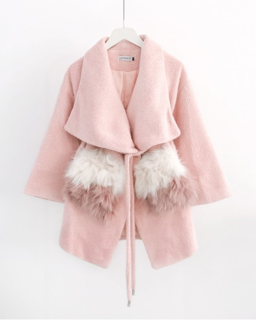 Pink belted wool jacket with faux fur pockets