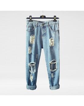 Rip Mesh Wide Leg Jeans