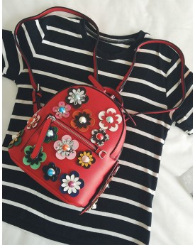 Flower Embellished Backpack
