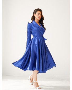 Silk midi front wrap dress in royal blue