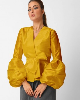 Curcuma Belted Buffed Sleeves Jacket
