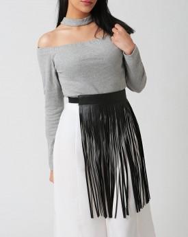 Black Faux Leather Belt with One Side Tassel