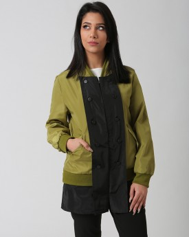 Khaki Jacket with Black Contrast