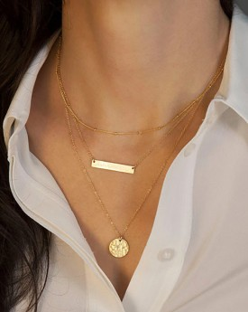 Layered Gold Tone Chain Necklace with Pendant