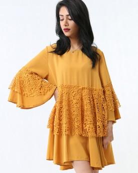Midi Dress With Lace Frill Waist