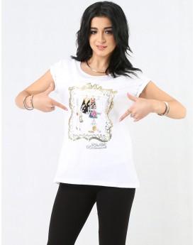 Sequin Detailed White T-shirt