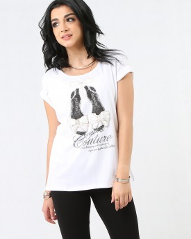 White Couture Sequin Detailed T-shirt
