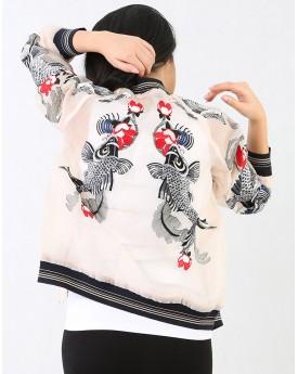 Embroidered Sheer Bomber Jacket