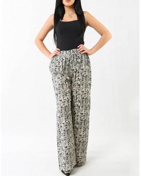 Black Wide Leg  Geo Print Trousers