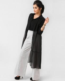 Black Shirt with Fake Cardigan & Strip Wide Leg Trousers
