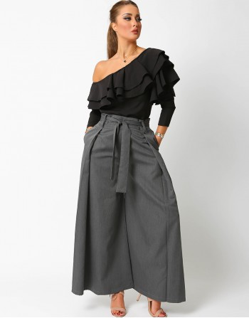 Culottes Trousers With Belt In Dark Grey