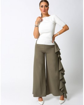 Wide Leg Trousers With Side Ruffles
