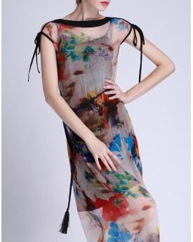 Mesh Printed Midi Dress