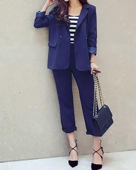 Blue Blazer & Cropped Slim Trousers