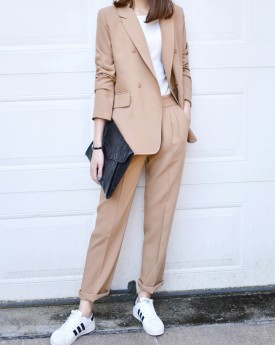 Beige Blazer with Straight Trousers