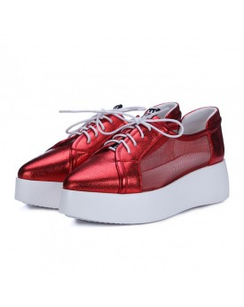 Red Flat-form Loafers with Sheer Sides